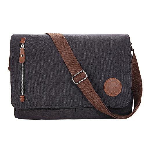 Gibgas 15,6 Zoll Canvas Umhängetasche Herren Laptoptasche Arbeitstaschen Schultertasche Messenger Bag für Arbeit Büro Studenten mit Laptopfach (15,6 Zoll-Schwarz)