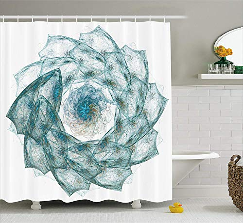 BUZRL Spires Decor Shower Curtain, Flower Shaped Spiral Digital Vortex Pattern with Hazy Colored Elements Art Image, Fabric Bathroom Decor Set with Hooks, 66x72 inches, Teal