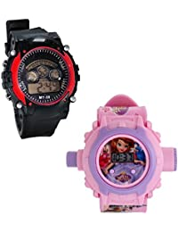 Shanti Enterprises Combo Sofia 24 Images Projector Watch And Sports Watch Multi Color Dial For Kids