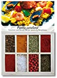 Paella Catalana – 8 Gewürze Set für die spanische Reispfanne (50g) – in einem schönen Holzkästchen – mit Rezept und Einkaufsliste – Geschenkidee für Feinschmecker von Feuer & Glas