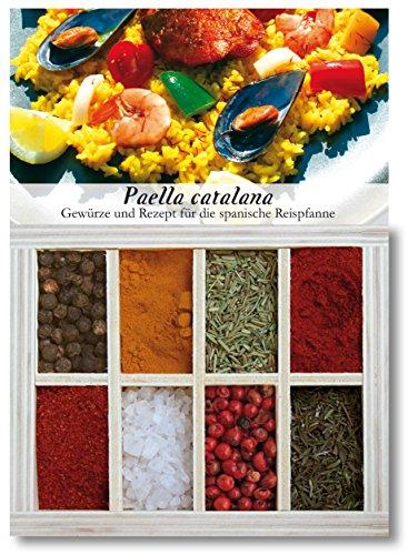Paella Catalana - 8 Gewürze Set für die spanische Reispfanne (50g) - in einem schönen Holzkästchen - mit Rezept und Einkaufsliste - Geschenkidee für Feinschmecker von Feuer & Glas