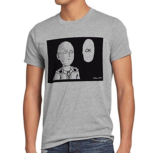 Riesen Xl T-shirt (CottonCloud Saitama OK Manga Herren T-Shirt One Punch OPM, Größe:XL;Farbe:Grau meliert)