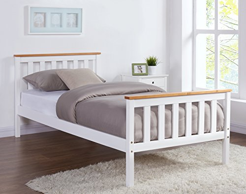 Home Detail Wooden Bed Frame Grey & Pine or White & Oak Contrast Finish (Single 3FT, White/Oak)