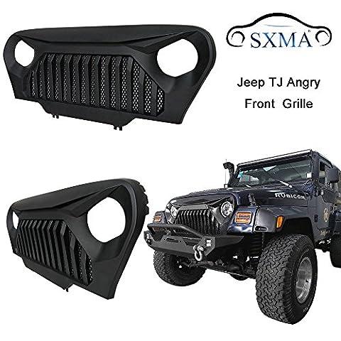 SXMA Front Grill Gladiator Vader Front Matte Black Grille Grid Grill for 1997-2006 Jeep Wrangler TJ