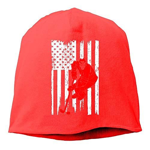 Hoklcvd Männer und Frauen Hockey Spieler Sport USA Flagge Warme Stretchy Täglich Beanie Hat Skull Cap Outdoor Winter Multicolor89