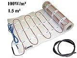 EXTHERM TWIN Heizkabel-100W/m² Matte Für Elektrische Fußboden-Heizung –- Installation – 1,5m² - Komfortable Wärme In All Ihren Räumen – Erneuerbare Energielösung