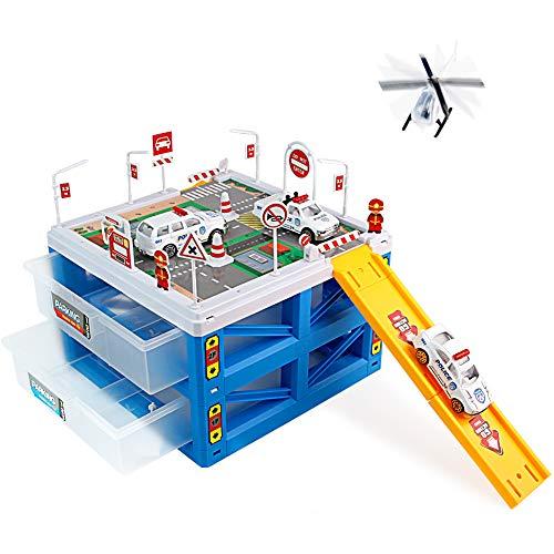 Polizeiauto Parkplatz Polizeiwagen Spielzeug Fahrzeug Komplett-Set Geschenk für Kinder Mädchen Jungen 3 4 5 Jahre