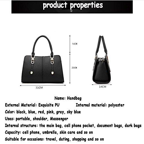 WU ZHI Damen Schultertasche Messenger Bag PU Weiche Leder Wild Large Capacity Handtasche Skyblue