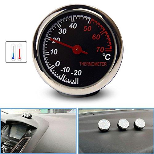 R29 KFZ Auto Thermometer Mechanischer Zeiger Digitale Temperatur Zählwerkzeug, Oberflächenglasspiegel, Anti-Kratzer, hohe Transparenz mit Haltbarkeit, die mechanische Struktur, ohne Batterie, Display Durchmesser: 4cm, Messbereich: -20°C ~ 70°C, Schwarz-Silber