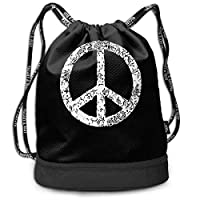 wwoman Symbol Peace Sign-2 Drawstring Bag For Mens And Womens, 100% Polyester Athletic Shoulder Bags