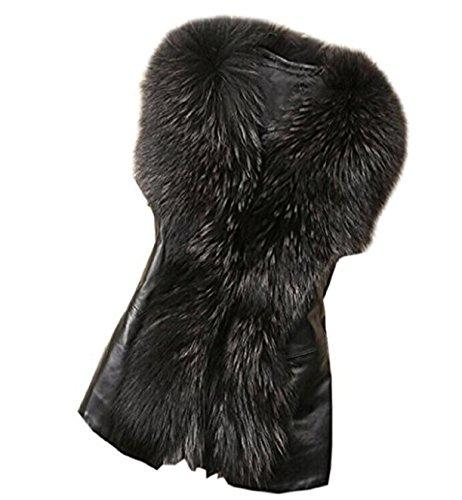 Rosennie Damen Winter Warme Weste Ärmellose Jacke Weste Elegant Fellweste Pelzjacke Cardigan Outwear (Asiatisch XXL, Schwarz)