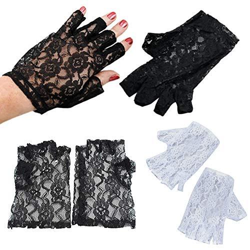 Kostüm 1980's Madonna - YOUZHA Frauen schwarzer Spitze Fingerlose Handschuhe Madonna Ladies Lady 1980 Kostüm, schwarz