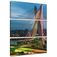 """Bilderdepot24 Cuadros en Lienzo """"The Puente - Sao Paulo Brasil"""" - 80 x 120 cm 3 piezas - listo tensa, directamente desde el fabricante"""