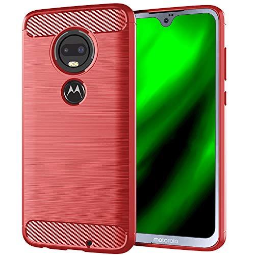 NEWZEROL Ersatz für Motorola Moto G7 / Motorola Moto G7 Plus Hülle [Slim-Fit] [Kratzschutz] [Stoßdämpfung] Brushed Grip Case Schutzhülle TPU Weiche Handyhülle- Rot [Lebenslange Ersatzgarantie]