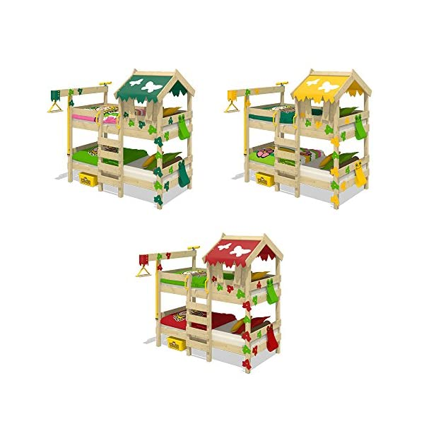 WICKEY Bunk Bed Crazy Ivy Play Bed for 2 Children Loft Bed with roof, Climbing Ladder and slatted Bed Base, Green-applegreen Wickey Fabulous bunk beds for boys and girls - Quality and safety tested - CrAzY roof and climbing ladder Natural and untreated wood - Solid wooden boards 18x120mm - Solid standing beams 58x58mm Mattress surface 200 x 90 x 12cm - Mirrored assembly possible - Detailed assembly instructions 4