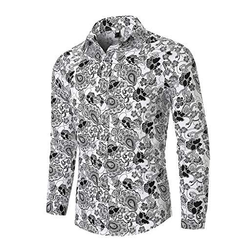 Aoogo Herren Herbst Ethnic Business Leisure Printing Langarm Shirt Top Bluse Ethnisch Bedrucktes Langarmhemd Mit Revers (Männer Aeropostale Orange)
