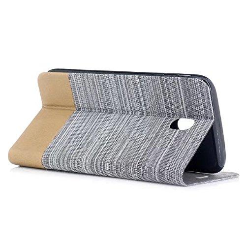 EKINHUI Case Cover Mischfarben-Segeltuch-Jeans-Tuch-Beschaffenheit PU-lederner weicher TPU rückseitige Abdeckung mit Kickstand und Kartenschlitzen für Samsung-Galaxie J730 europäische Ausgabe ( Color  White