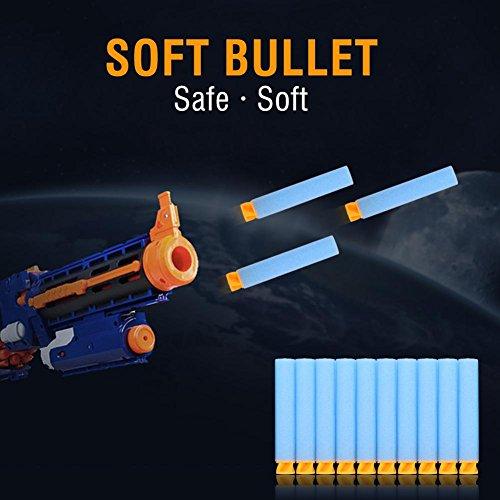 400pcs 7.2cm Weich Sicher Kugeln voller Schaumstoff Dart für Spielzeug-Pistole für Kinder, hellblau