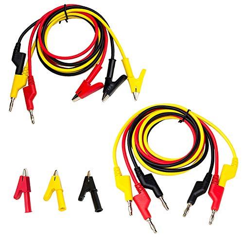 KeeYees 3 in1 Messleitungssatz, 3 Stück 4mm Stapelbarer Bananenstecker Krokoklemme mit Labor Kabel + 3 Stück Double Ended Bananenstecker 1M Prüfkabel + 3 Stück Krokodilklemmen