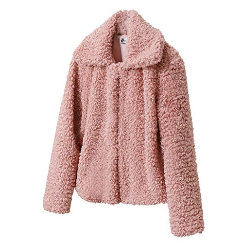GreatestPAK Damen Plus Samt Einfarbig Umlegekragen Wolllamm Short Mäntel Herbst Winter Revers Jacken,Rosa,3XL
