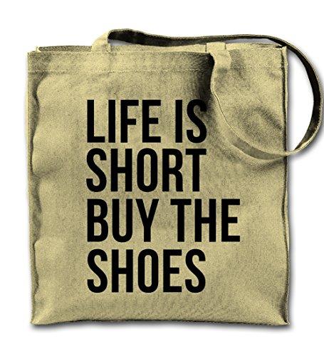 Life Is Short Buy The Shoes Komisch Natürliche Leinwand Tote Tragetasche, Tuch Einkaufen Umhängetasche (Natürliche Baumwolle Umhängetasche)