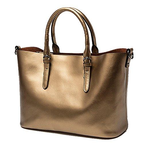 Yan Show Damen Lederne Einkaufstasche Schulter Beutel Handtasche /Lila Zimt