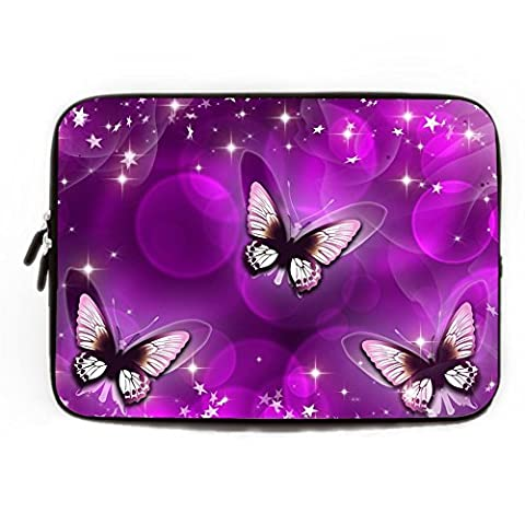 Laptop Case Protection Neoprene 10-10.8 Inch Purple Butterfly Pattern Laptop Sleeve Soft Water Resistance Computer Case for Lenovo HP Sony Toshiba Powerbook