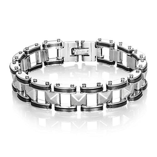 Jiayiqi Bracelet Chaîne Réglable Bracelet Poignet à Maillons Acier Inoxydable Hommes No.5