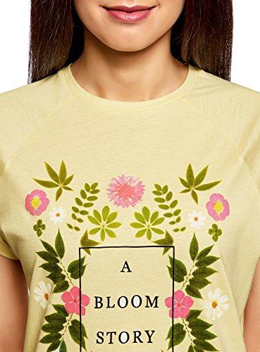 oodji Ultra Donna T-Shirt in Cotone con Stampa Senza Etichetta con Orlo Grezzo Giallo (5019P)
