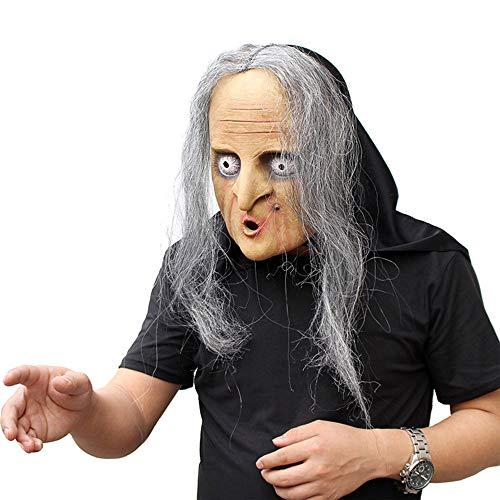 JASNO Halloween Party Horror Hexe Maske Mit Haaren Erwachsene Beängstigend Ausgefallene Kleid Kostüm Accessoire