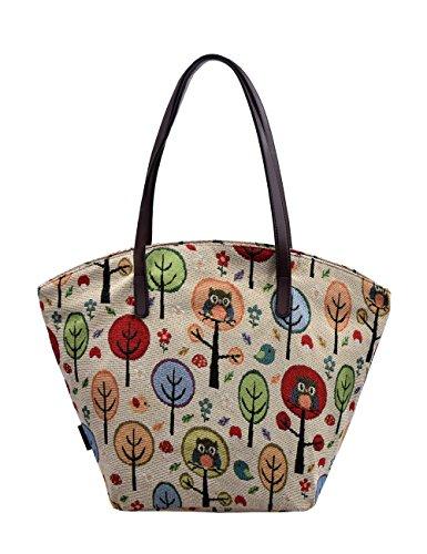 Douguyan tela di canapa variopinto di modo di svago del sacchetto di spalla della spiaggia all'ingrosso signore tote shoulder bag borse donna Ragazze canvas beach shopping women handbag 252F Cachi