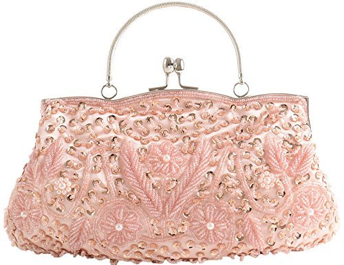 100% handgefertigt, Pailletten Hochzeit, Handtasche mit langer Kette, (champagnerfarben), Medium ()