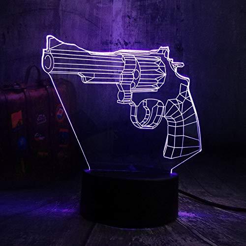 Luz De Noche 3D Battle Royale Juego Pubg Tps Revolver Magnum Led Luz de Noche Lámpara de Mesa de Escritorio Rgb 7 Niños de Color de Juguete de Regalo de Navidad