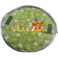 Preisvergleich für HIMRY® 145cm Kinder Spielmatte Aufräumsack Spieldecke Spielzeug Speicher Tasche, 145cm Round Matte zum einfachen Spielen und Aufräumen, Ideal für das schnelle Aufsammeln von Legos, Dupla usw., Aufbewahrung Beutel Spielzeugaufbewahrung, Grün, KXD4007 green