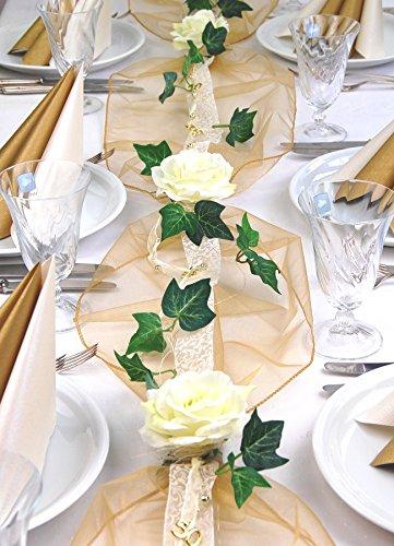 """Fibula [Style] ® Komplettset """"Elegance"""" Größe S Tischdekoration für Goldene Hochzeit für ca. 8 - 10 Personen in creme-gold"""