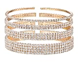 BABEYOND Damen Armband 1-5 Reihen Diamante Armreif Strass Stretch Tennis Armband Clear CZ Kristall Armband Cuff Set Elastische Braut Hochzeit Armband für Braut (1-4 Row Bracelets Set-Gold)