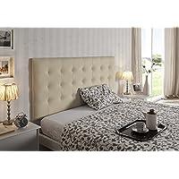 Living Sofa CABECERO Cama Gran CAPITONÉ DE Alta Gama TAPIZADO EN MICROPIEL Color BEIG 160 X