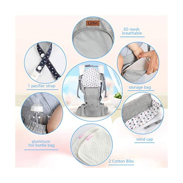 Lictin Baby Carrier for Newborn - Baby Sling Wrap Newborn Baby Carrier Sling Baby Back Carrier Ergonomic Baby Carrier Front and Back for Newborn to Toddler(3.5kg-15kg) (Grey) Lictin Baby carrier newborn to toddler: with soft padding and high-class fabric, our baby carrier backpack could bear the weight from 3.5kg to 15 kg(7.7 lbs to 33 lbs) Pocket breathable window: to keep your baby cool or warm through summer or winter, by simply zipping up the window or unzipping it Worry-free:baby carrier backpack is with SGS certification and CE EN 13209-2:2015 safety certification 6