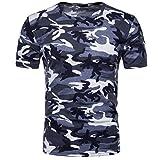 TWBB Herren Tarnung O-Ausschnitt Kurzarm bedrucktes T-Shirt (M, Blau)