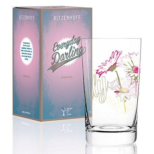 RITZENHOFF Everyday Darling Softdrinkglas von Yvonne So, aus Kristallglas, 300 ml, mit trendigen Dekoren