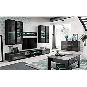 pmmarket Living Room High Gloss Furniture Set Display Wall Unit Modern TV Unit Cabinet (Coffee table)