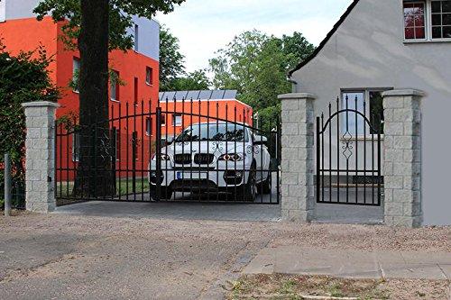 Einfahrtstor Hoftor Doppelflügeltor Gartentor Bellevue 400 x 150 cm, mit Pforte 94 cm und Riegelset, Komplett-Set, Gesamtbreite ist ca.621 cm