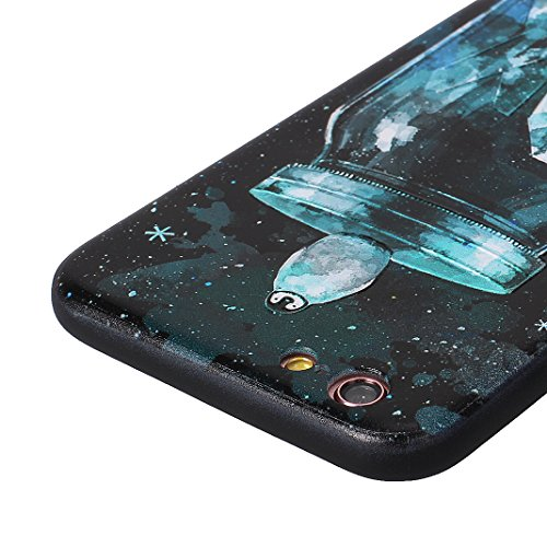 Coque Dure Pour iPhone 6 Plus / 6S Plus, Asnlove 2 in 1 TPU Silicone et PC Plastique Cas Relief Étui Mode Motif Exquis Housse Sentiment Mystique Cover Soulagement Case Noir Rigide Shell, Style-1 Style-5