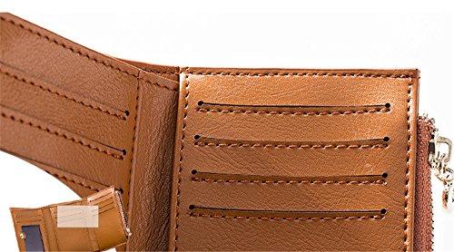 Xinmaoyuan Portafogli donna Portafogli donna in pelle Borsa breve Card Pack fibbia Casual Wallet,giallo Giallo