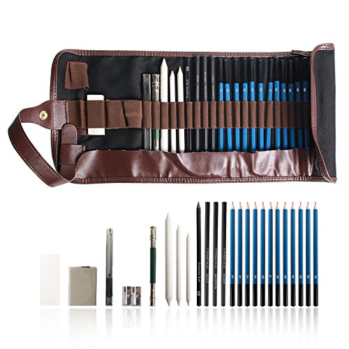 TIANSE 24PCS Drawing Pencils Set for Artists Sketching Pencils Art set includes Graphite Pastel Charcoal Pencils and Accessories EINWEG