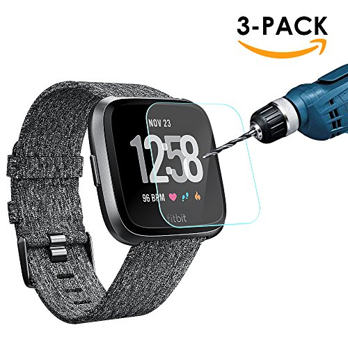 Price comparison product image Fitbit Versa Screen Protector,  Kimilar (3 Pack) Transparent HD and Shatter-Proof Shield Tempered Glass Screen Protector for Fitbit Versa Smartwatch
