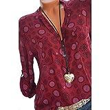 Damen Tops Bluse SUNNSEAN Frauen Sexy Shirt Drucken T-Shirt V-Ausschnitt Lose Hemdbluse Lange Ärmel Lässige Hemd Langarmshirts Tuniken Straße Langarm