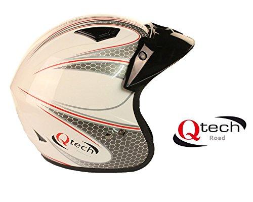 Qtech Casco abierto para scooter - Para motocicleta / trial - Negro / blanco / rojo - Blanco - XL (61-62 cm)