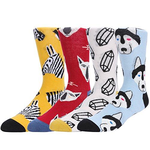 WYTartist Herren Cool Crazy Pattern Neuheit Lustige Baumwolle Crew Dress Socken  (Animal) (Stretch-zehen-socken Crew)