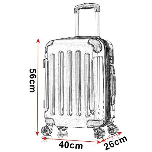 WOLTU RK4204sz-M-a Reisekoffer Koffer Trolley Hartschale mit erweiterbaren Volumen , 4 Rollen leicht Hartschale mit erweiterbaren Volumennkoffer Handgepäck , Schwarz M (56 cm & 42 Liter) - 3